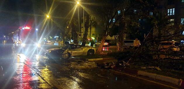 Refüje çıkıp, ağaca çarpan lüks otomobildeki 2 kişi yaralandı