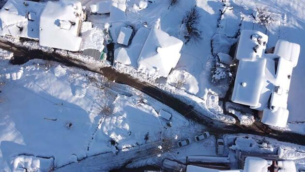 Karla kaplı milli park havadan görüntülendi