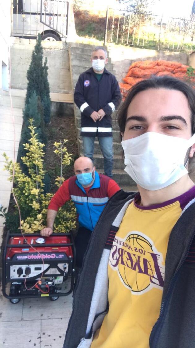 Sınav öncesi elektriksiz kalan üniversiteliye jeneratörlü jest