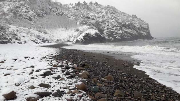 Cide'de kar güzelliği