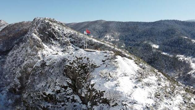 Küre Dağları Milli Parkı'nda kar güzelliği havadan görüntülendi