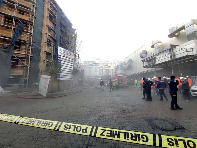 Kağıthane'de inşaat şantiyesi'nde yangın; alevler binanın ön cephesini sardı