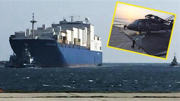 Dedeağaç'ta ABD gemisi yanaştı, helikopterler indi