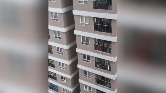 Vietnam'da 12. kattan düşen küçük kızı kurye kurtardı
