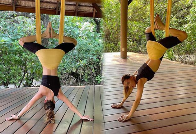Ebru Şallı, Maldivler tatilinde! Yoga pozları sosyal medyayı salladı