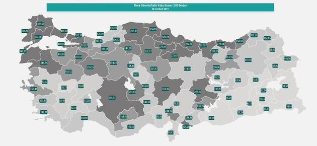 Türkiye vaka haritası güncellendi: İşte il il son durum