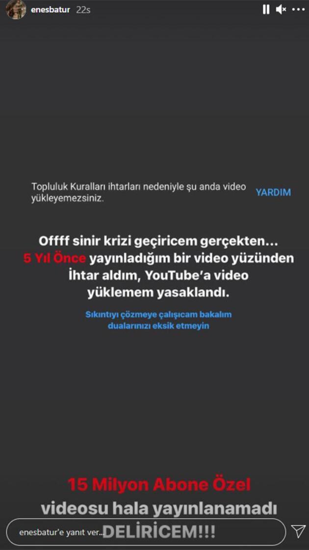 Enes Batur'un YouTube'dan ceza aldı! Video yüklemesi yasaklandı