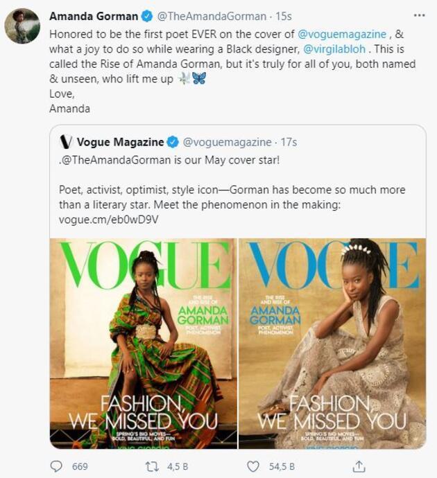 Vogue dergisinin kapağındaki ilk şair: Amanda Gorman