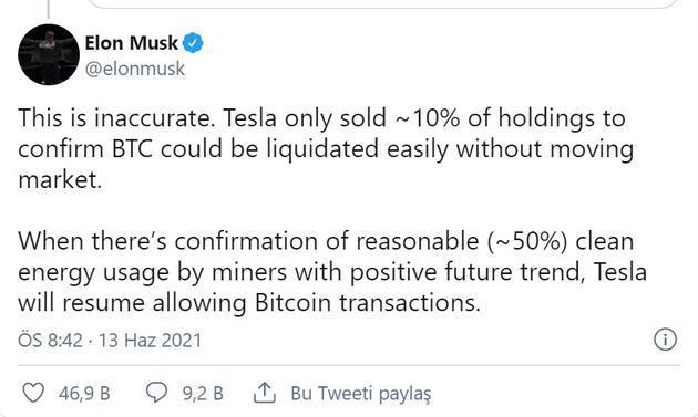 Elon Musk tweeti sonrası yeniden yükseldi: İşte kripto paralarda son durum