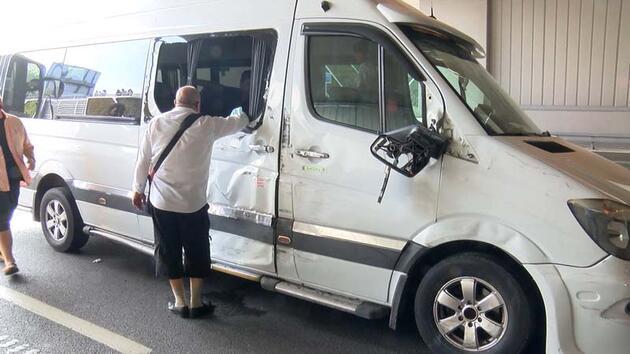 Ani fren zincirleme kazaya neden oldu! Yaşlı kadın şoka girdi