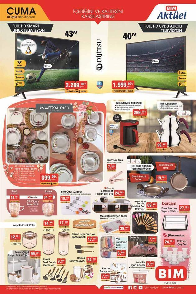 Bugün BİM aktüel 10 Eylül 2021 Cuma kataloğu ürünleri satışta! BİM aktüel kataloğu 3 sayfa!