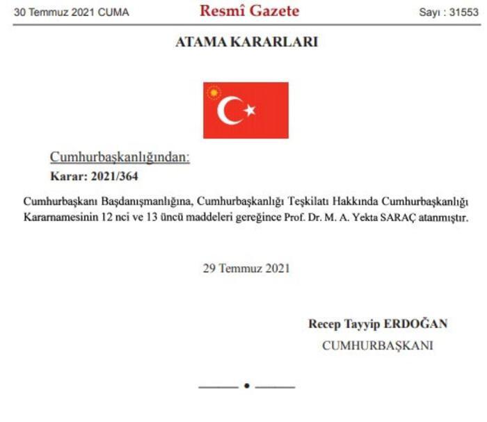 Son dakika: Cumhurbaşkanlığı Başdanışmanlığı'na Prof. Dr. Yekta Saraç atandı 14