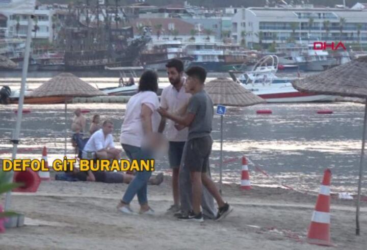 Marmaris'te kadın ile erkeğin kavgası kamerada