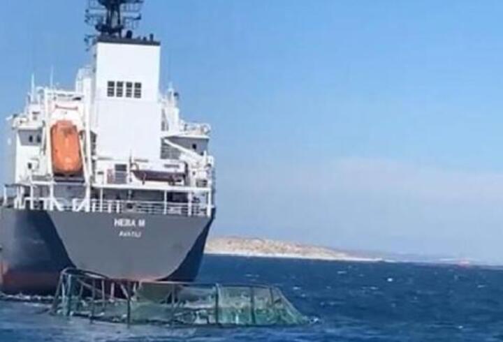 Kuru yük gemisi balık çiftliği havuzlarına çarptı; 20 milyon lira zarar oluştu