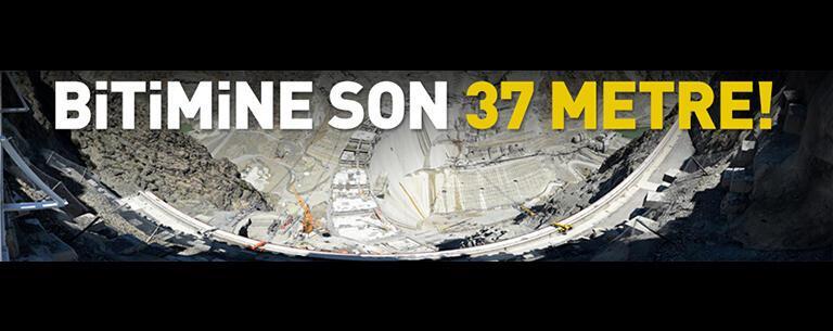 Yusufeli Barajı'nın tamamlanmasına 37 metre kaldı