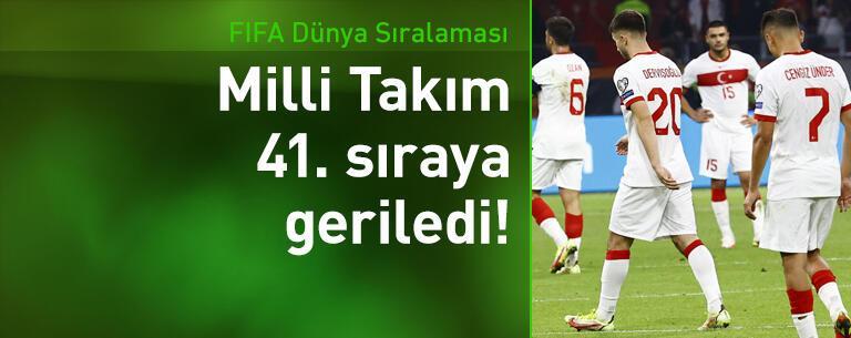 Milli Takım FIFA sıralamasında 41. sıraya geriledi