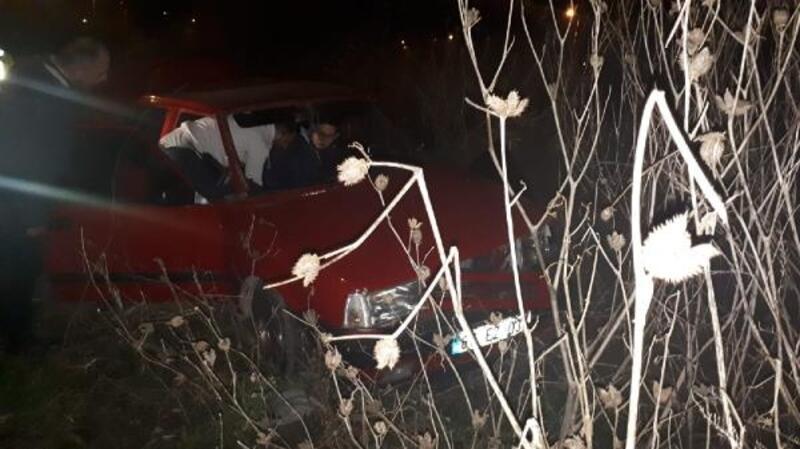 Şarampole devrilen otombilin sürücü alkollü çıktı