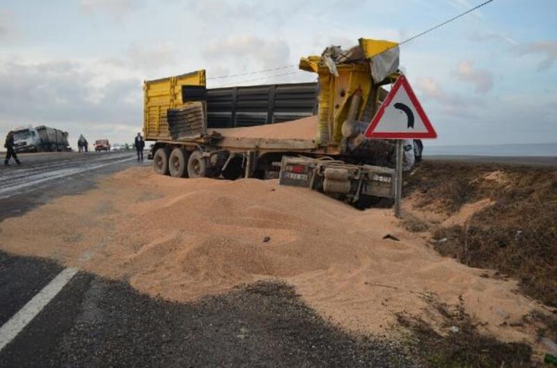 Kaza yapan kamyondaki buğday yola saçıldı