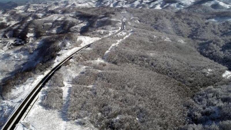 Zonguldak ormanlarındaki beyaz örtü havadan görüntülendi