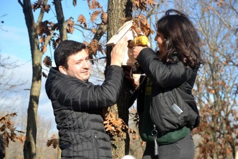 Liseli öğrenciler, kuşlar için 'sevgi yuvası' yaptı