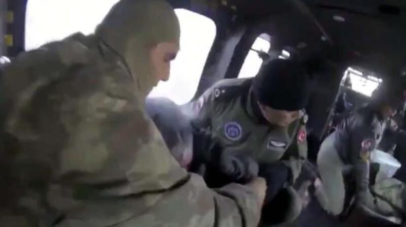 Boyalı Dağı'nda mahsur kalan 4 kişi askeri helikopterle kurtarıldı