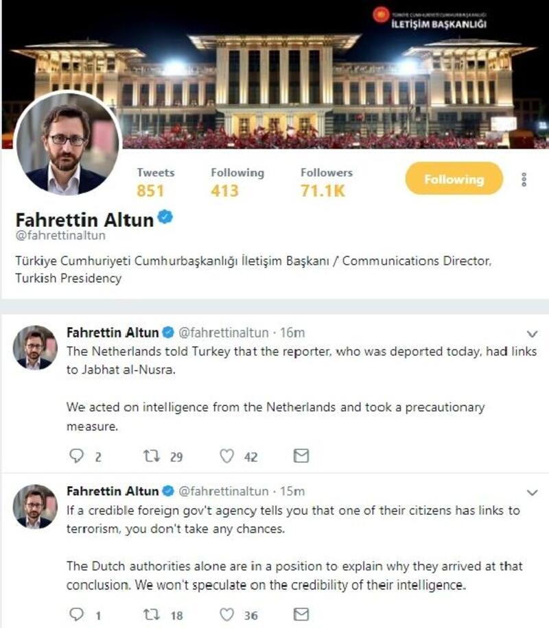 Fahrettin Altun: Hollanda, vatandaşı gazetecinin El Nusra bağlantısı olduğunu söyledi