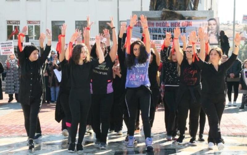 Kadına şiddete zumbalı protesto