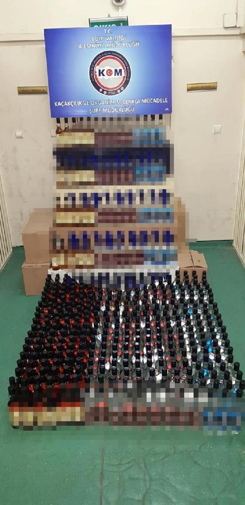 Bolu'da 647 şişe kaçak içki ele geçirildi