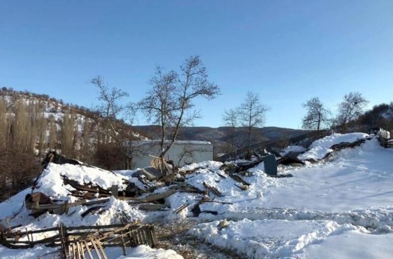 Ağılın çatısı çöktü, 18 koyun telef oldu