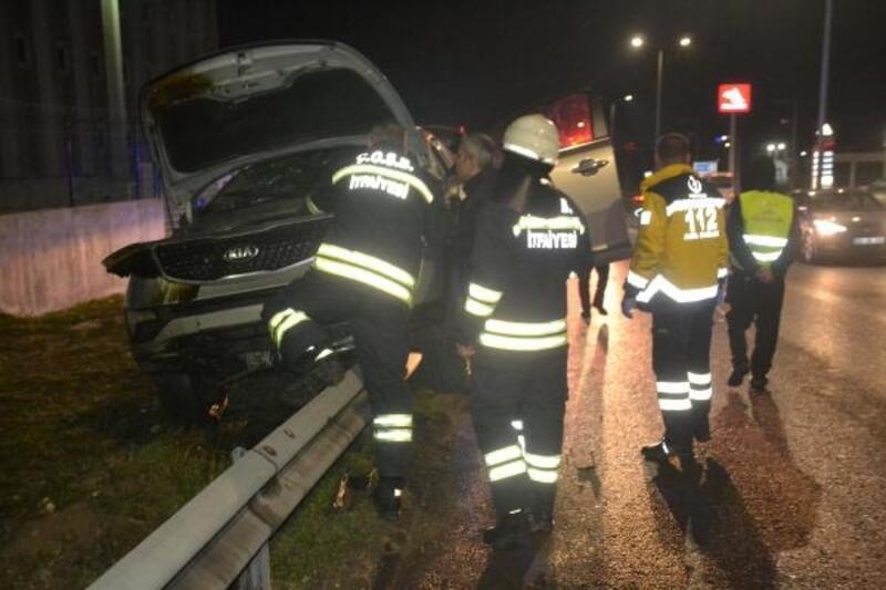 Kaza yapan alkollü sürücü, polise zor anlar yaşattı