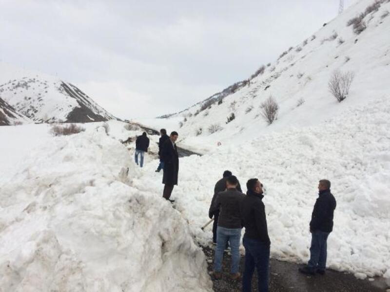 Karlıova'da karayoluna çığ düştü; 30'a yakın araç mahsur kaldı