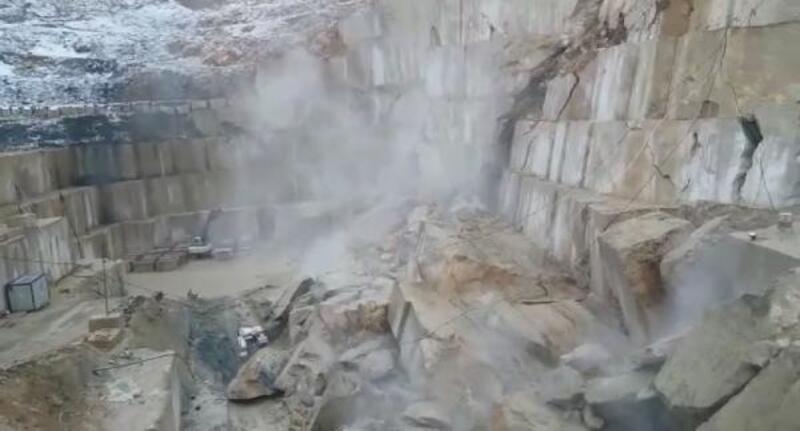 Bursa'da mermer ocağı böyle çöktü
