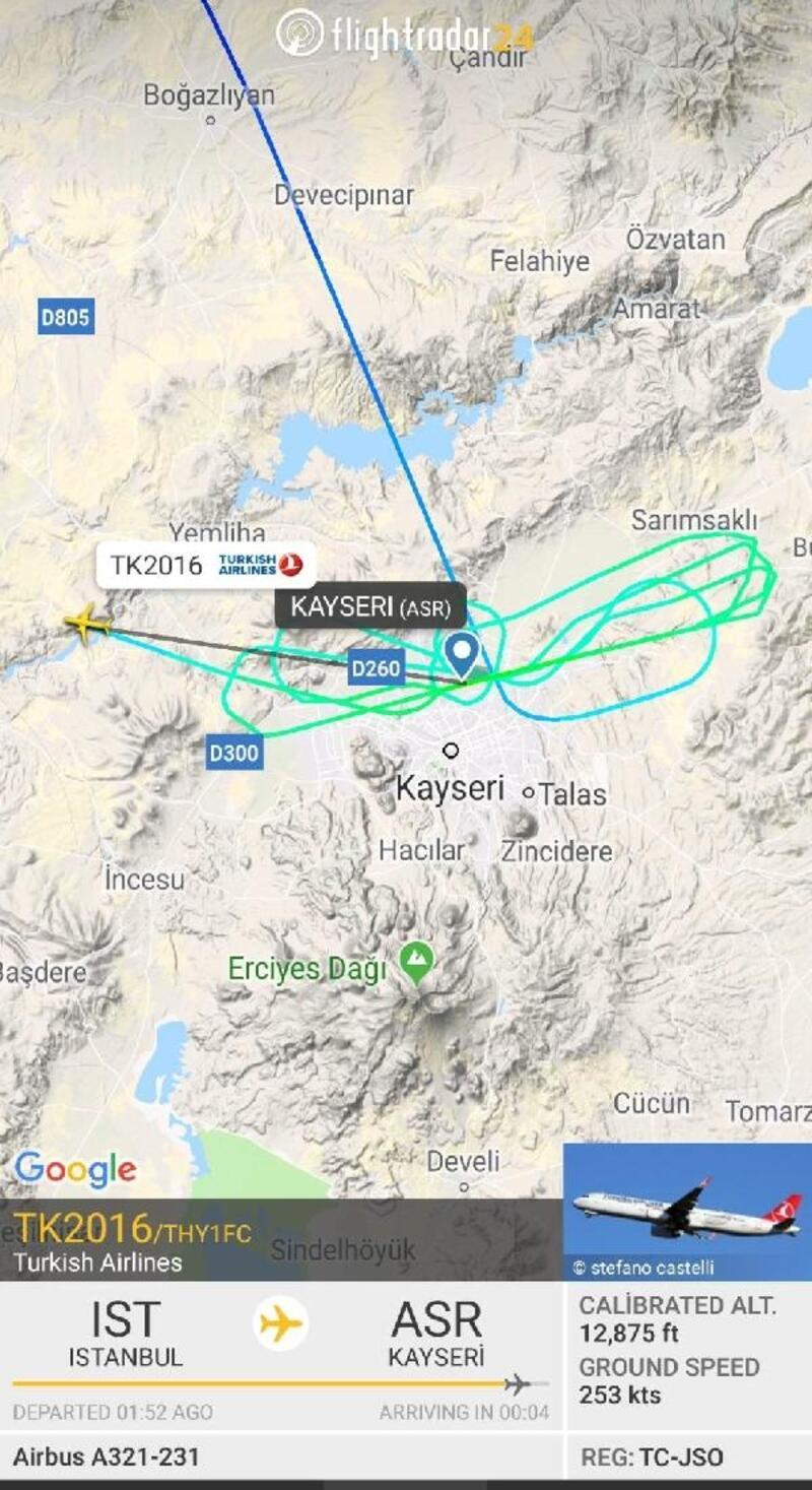 Kayseri'ye inemeyen yolcu uçağı Ankara'ya indi