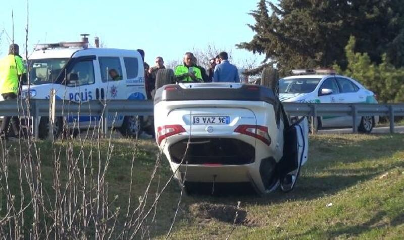 Silivri'de kaza yapan cip ters döndü