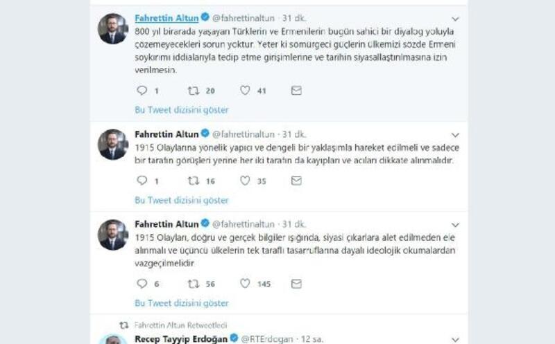 Fahrettin Altun: 1915 olayları, siyasi çıkarlara alet edilmeden ele alınmalı