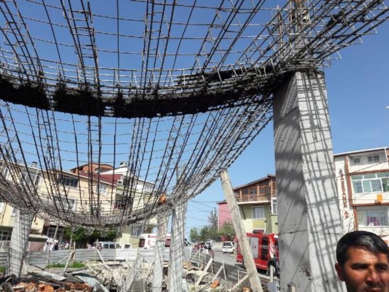 Arnavutköy'de beton dökülen inşaatta çökme