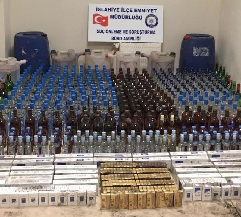 İslahiye'de kaçak içki ve sigara operasyonu