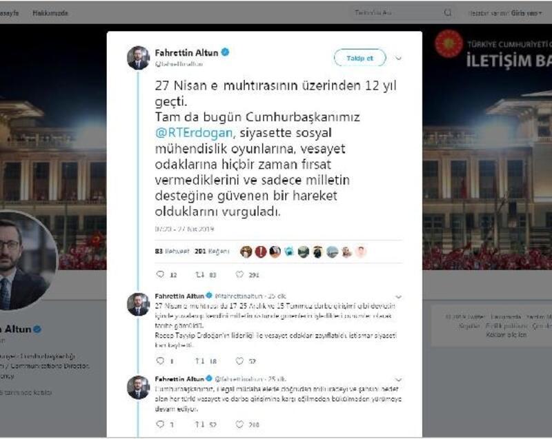 Cumhurbaşkanlığı İletişim Başkanı Altun'dan '27 Nisan e-muhtırası' mesajı