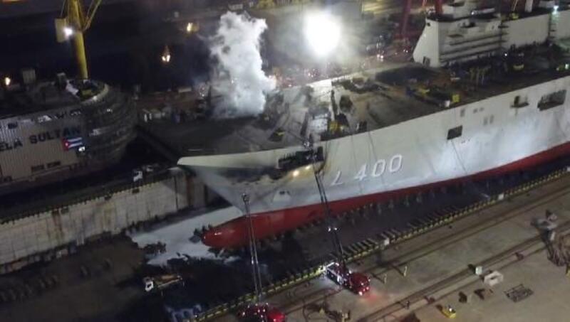Tuzla'da özel bir tersanedeki gemide yangın çıktı