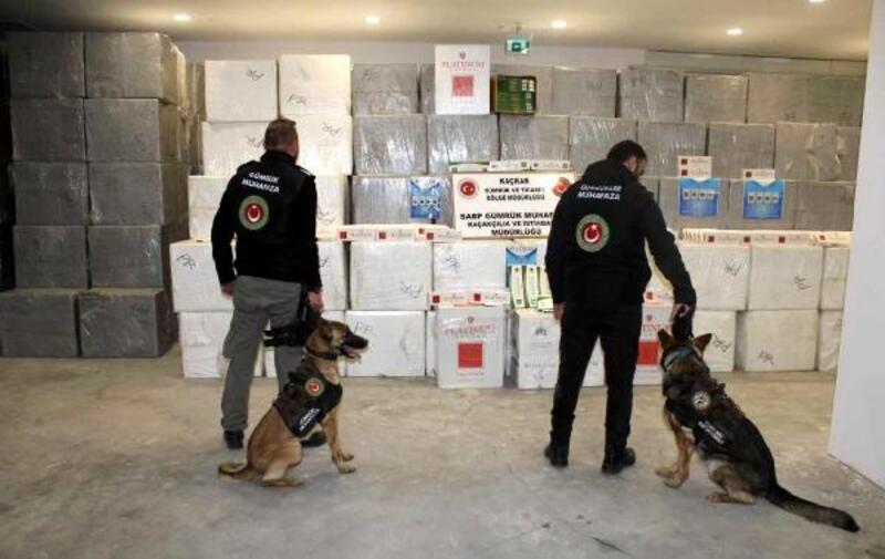 Sarp Sınır Kapısı'nda 627 bin 500 paket kaçak sigara ele geçirildi