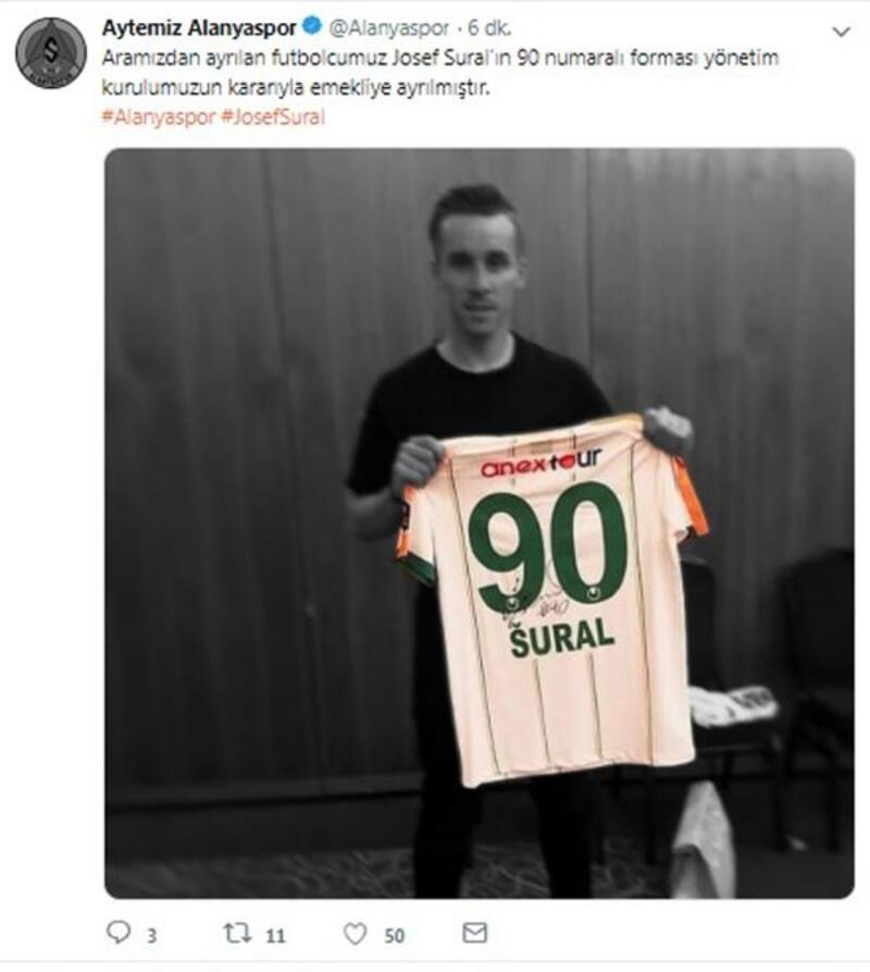 Josef Sural'ın 90 numaralı forması emekliye ayrıldı
