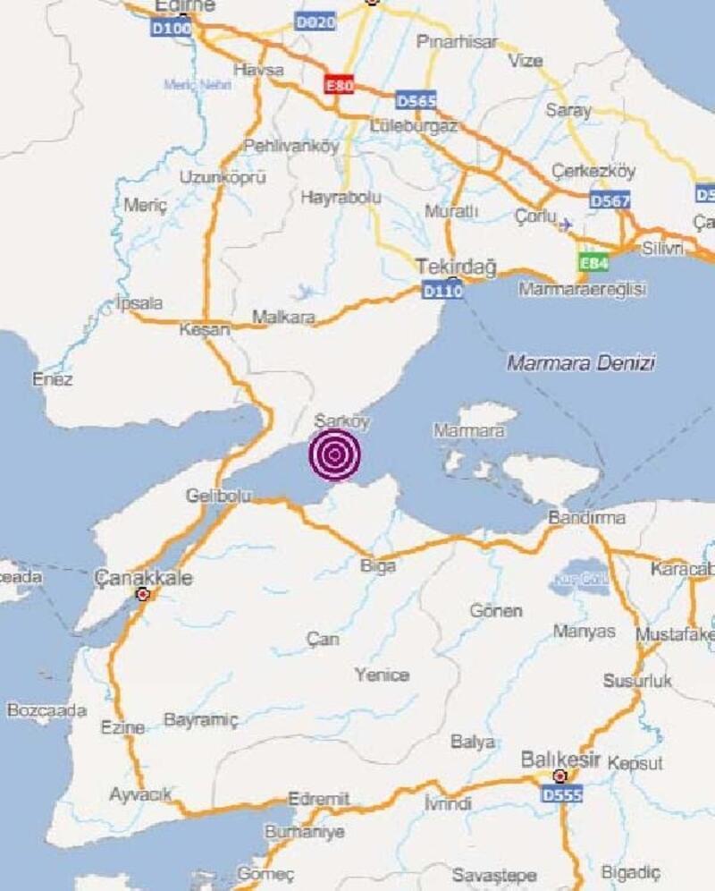 Marmara Denizi'nde 3, 9 büyüklüğünde deprem