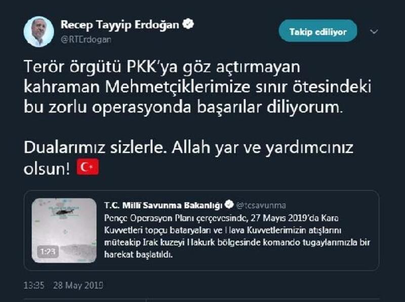 Erdoğan: Mehmetçiklerimize başarılar diliyorum