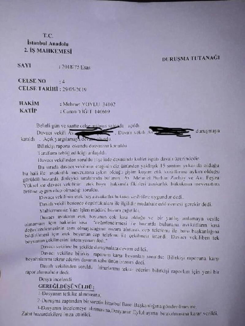 """Duruşmada kadın avukatla hakim arasında """"Etek boyu"""" tartışması"""
