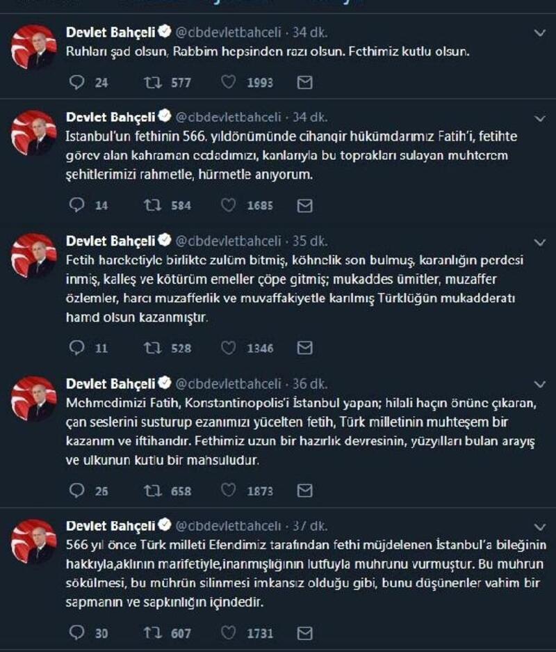 Bahçeli'den 'İstanbul'un fethi' mesajı