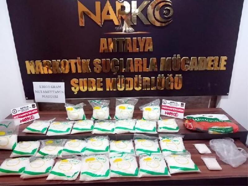 Antalya'da 13 kilo metamfetamin ele geçirildi