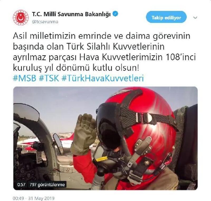 Türk Hava Kuvvetleri'nin 108'inci kuruluş yılı için klipli kutlama