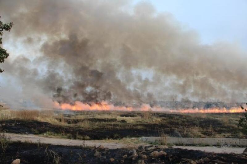 Mayınlı alanda çıkan yangın TOMA ile söndürüldü