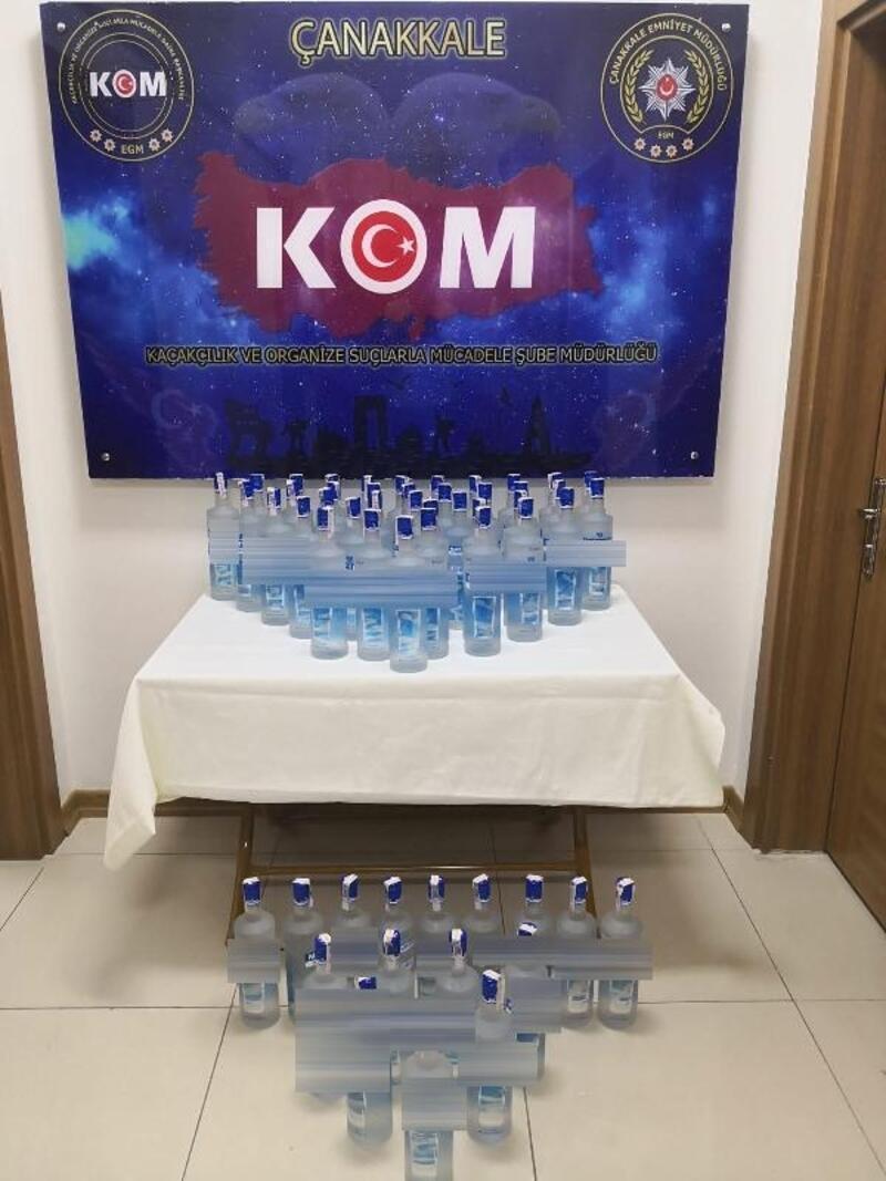 İş yerinde 54 şişe kaçak içki ele geçirildi