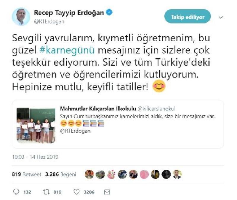 Erdoğan'dan karne mesajı
